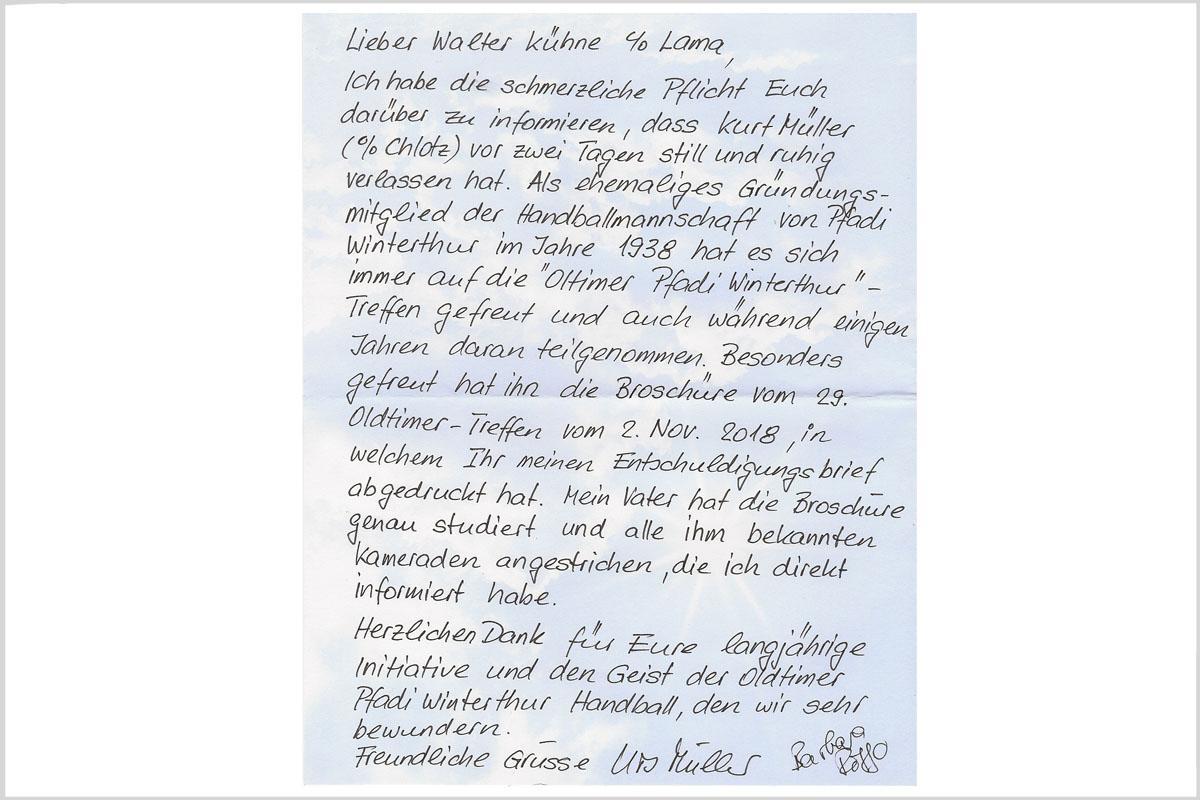 Brief an Obmann