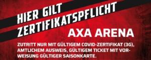 AXA Arena_Covid-Zertifikatbanner